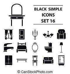 mobília, jogo, ícones, em, pretas, style., grande, cobrança, mobília, vetorial, símbolo, ilustração acionária