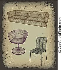 mobília, jogo, para, desenho, em, grunge, frame., vetorial