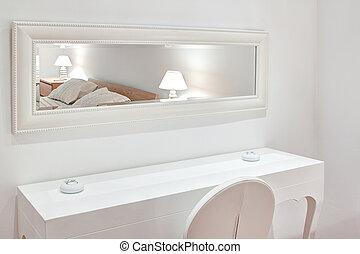 mobília moderna, a, bedroom., a, espelho, cama, chair.
