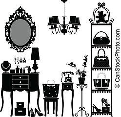mobília, mulher, sala, cosmético