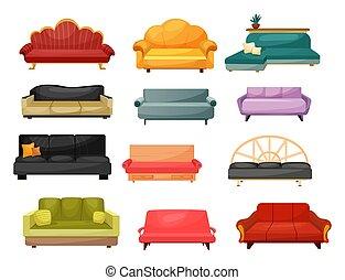 mobília, sofás, clássicas, modernos, lar, sofá
