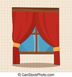 mobília, tema, janela, elementos, vetorial