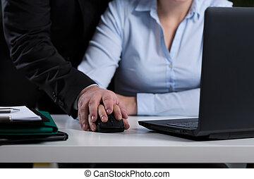 Mobbing at work - Close-up of boss mobbing his employee at...