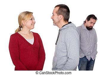 mobbing, offer, bak, två människor
