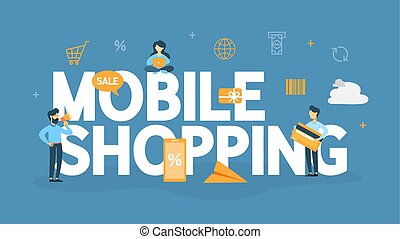 Mobie shopping concept illustration