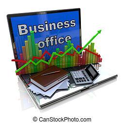 mobiel bureau, boekhouding, financieel, ontwikkeling, en, bankwezen, handel concept