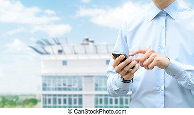 mobiel communicatiemiddel, met, de ruimte van het exemplaar