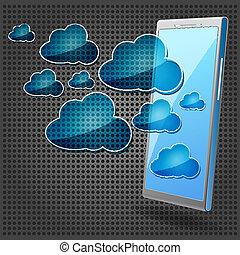 mobiele telefoon, blauwe , wolken
