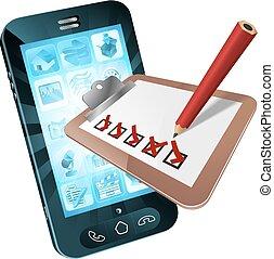 mobiele telefoon, concept, onderzoeken; inspecteren;