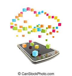 mobiele telefoon, concept, wolk, gegevensverwerking