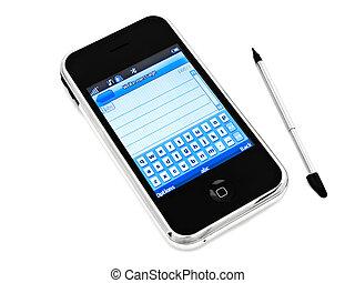 mobiele telefoon, en, schrijfstift