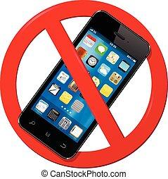 mobiele telefoon, gebruiken, niet, meldingsbord