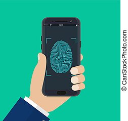 mobiele telefoon, hand, ontsloten
