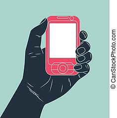 mobiele telefoon, holdingshand