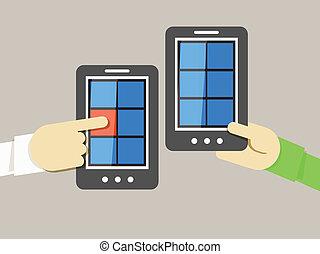 mobiele telefoon, informatie, overdracht, illustratie