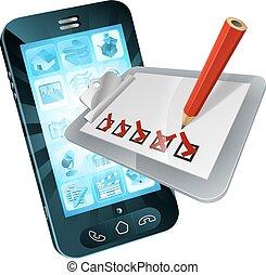 mobiele telefoon, klembord, onderzoeken; inspecteren;, online