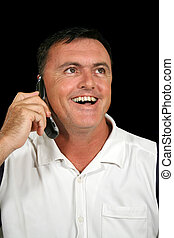 mobiele telefoon, lachen, man