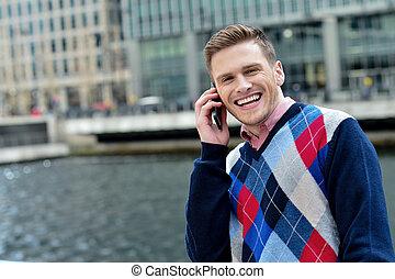 mobiele telefoon, man, jonge, klesten