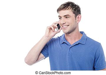 mobiele telefoon, man, ongedwongen, roepende