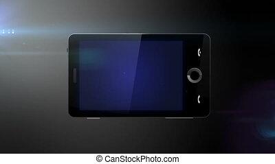 mobiele telefoon, met, blauw scherm, gereed