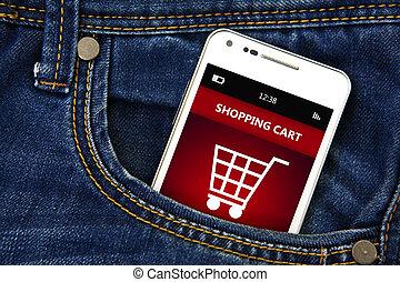 mobiele telefoon, met, boodschappenwagentje, in, jeans, zak
