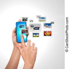 mobiele telefoon, met, hand