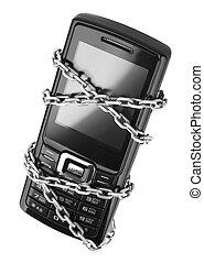 mobiele telefoon, met, ketting