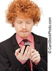 mobiele telefoon, mooi, man