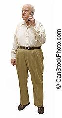 mobiele telefoon, oudere man