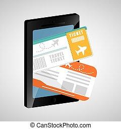 mobiele telefoon, reizen, ticket, app