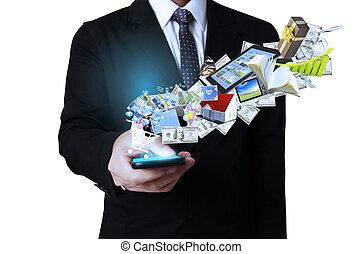 mobiele telefoon, scherm, zakenlieden, beroeren