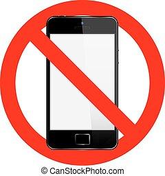 mobiele telefoon, vector, nee, meldingsbord