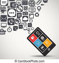 mobiele telefoon, vliegen, moderne, iconen