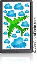 mobiele telefoon, vliegtuig