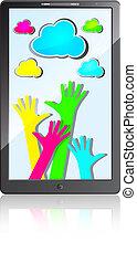 mobiele telefoon, vrolijke , handen