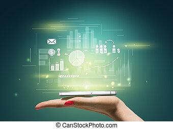 mobiele telefoon, vrouw, informatietechnologie, hand