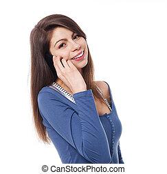 mobiele telefoon, vrouw, jonge