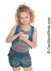 mobiele telefoon, weinig; niet zo(veel), het glimlachen meisje