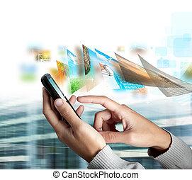 mobiele telefoon, zenden, afbeelding