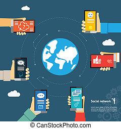 mobil, ögonblick, klot, begrepp, budbärare