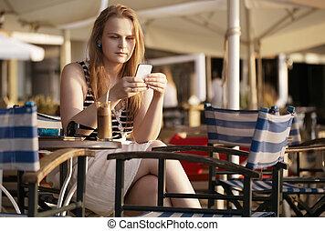 mobil, överföring, kvinna, sms, henne