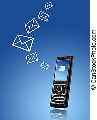 mobil, överföring, meddelande, tel., concept.