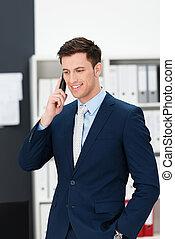 mobil, affärsman, tagande, rop, stilig