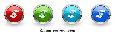 mobil, alternativ, ikonen, miljö, planet, omsorg, nät, design, silver, applikationer, knäppas, färger, vit, hand, isolerat, glatt, sätta, internet, bakgrund, metallisk, fyra, röd, nymodig