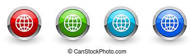 mobil, alternativ, ikonen, nät, design, silver, applikationer, knäppas, färger, vit, isolerat, klot, glatt, sätta, internet, bakgrund, metallisk, fyra, röd, nymodig