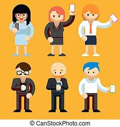mobil, användande, folk, telefoner
