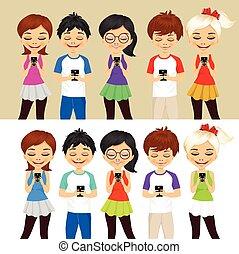 mobil, användande, folk, ung, telefoner