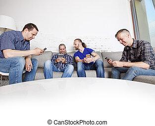 mobil, användande, vänner, deras, telefoner