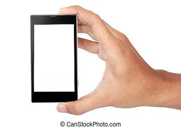 mobil, avskärma, hand, ringa, holdingen, tom, smart