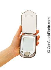 mobil, avskärma, isolerat, ringa, tom, vit